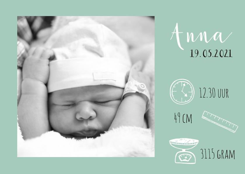 Geboortekaartjes - Foto geboortekaartje met iconen