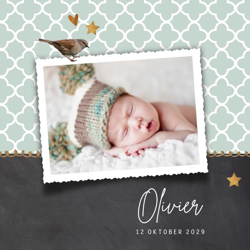 Geboortekaartjes - Foto geboortekaartje mint groen krijtbord jongen