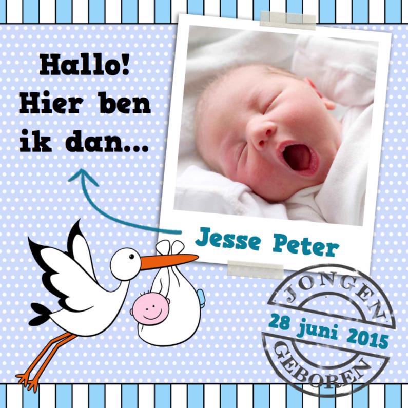 Geboortekaartjes - Foto op stippen en ooievaar zoon