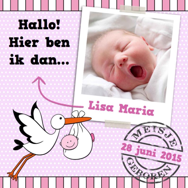 Geboortekaartjes - Foto stippen en ooievaar dochter