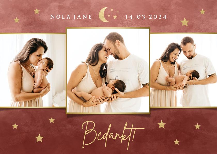 Geboortekaartjes - Fotocollage geboorte bedankkaartje met maantje en sterretjes