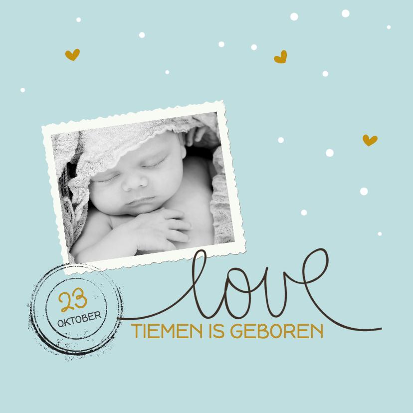 Geboortekaartjes - Fotogeboortekaartje blauw love