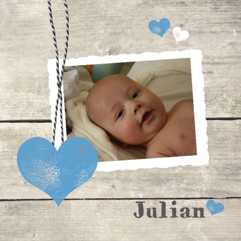 Geboortekaartjes - Fotokaartje houtprint jongen