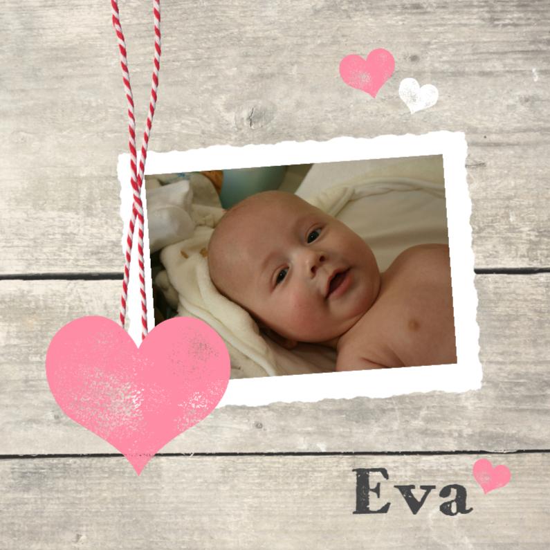 Geboortekaartjes - Fotokaartje houtprint meisje