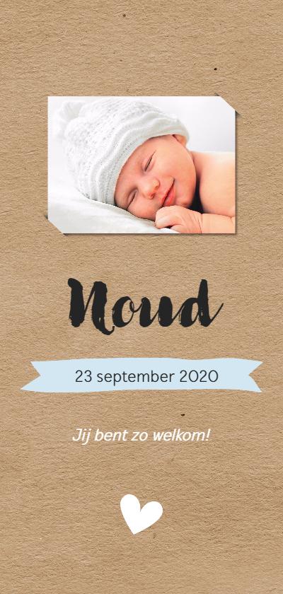 Geboortekaartjes - Fotokaartje met kraftlook