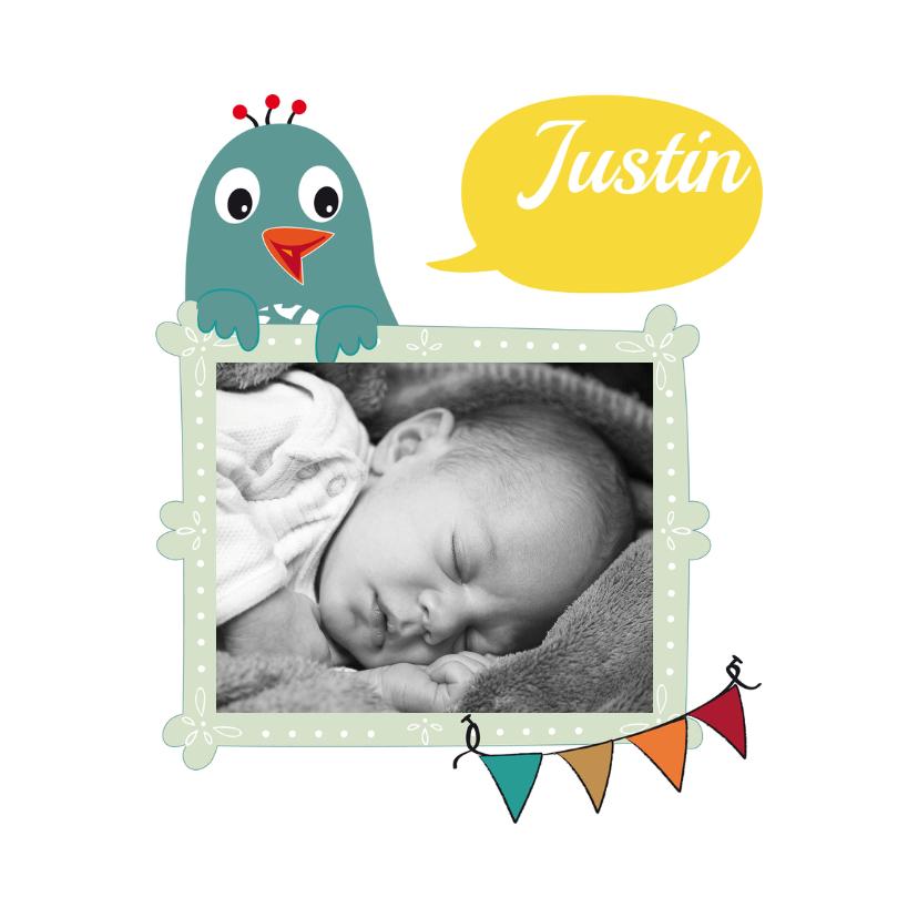 Geboortekaartjes - Fotolijst met vogeltje