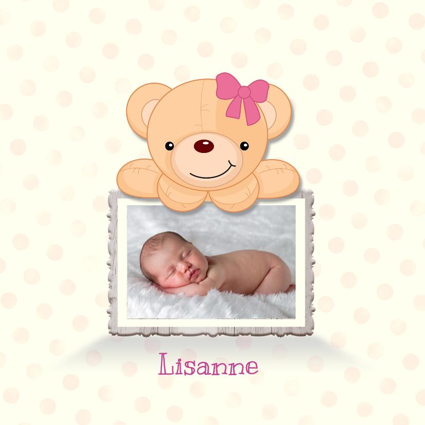 Geboortekaartjes - Fotolijstje met beer-roze