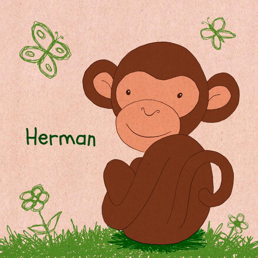 Geboortekaartjes - Geboorte aapje papierprint - HR