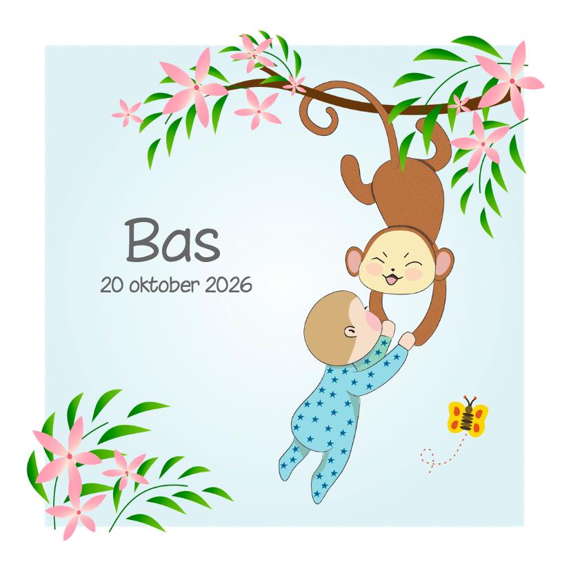 Geboortekaartjes - Geboorte baby boy en  aap