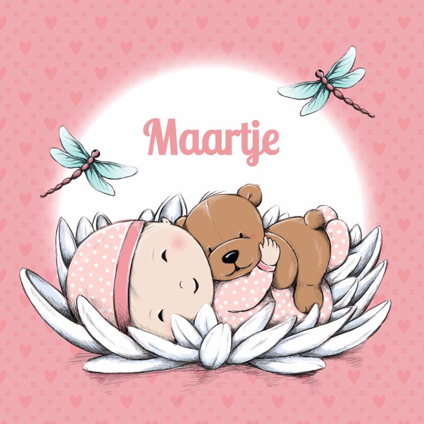 Geboortekaartjes - Geboorte baby Maartje en beer IH