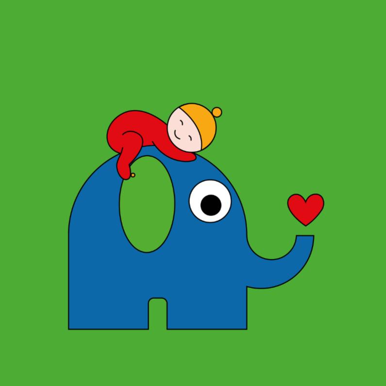 Geboortekaartjes - Geboorte - baby op olifant