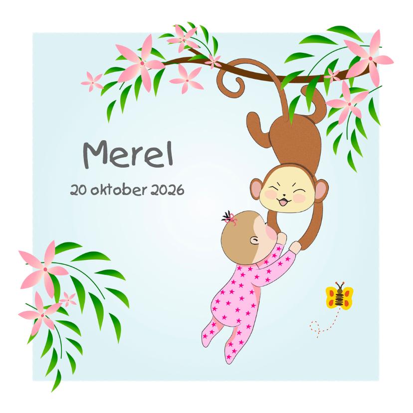 Geboortekaartjes - Geboorte  babymeisje en aapje
