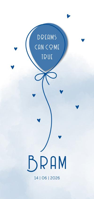 Geboortekaartjes - Geboorte Ballon op waterverf achtergrond blauw