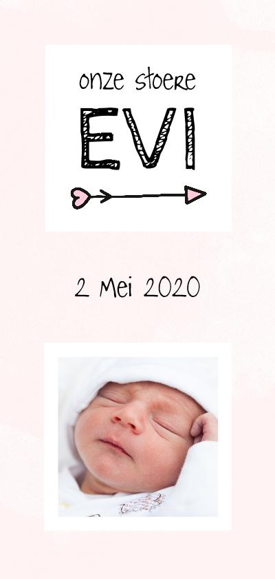 Geboortekaartjes - Geboorte beschuitklok girl lang aqua