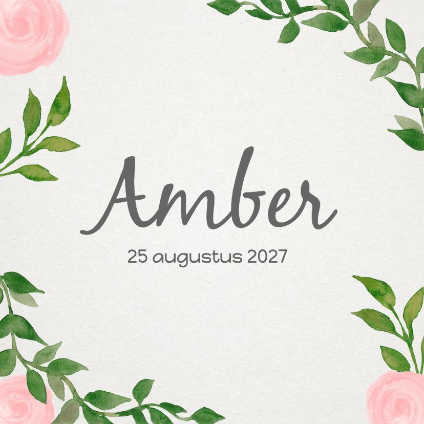 Geboortekaartjes - Geboorte bladeren meisje - DH