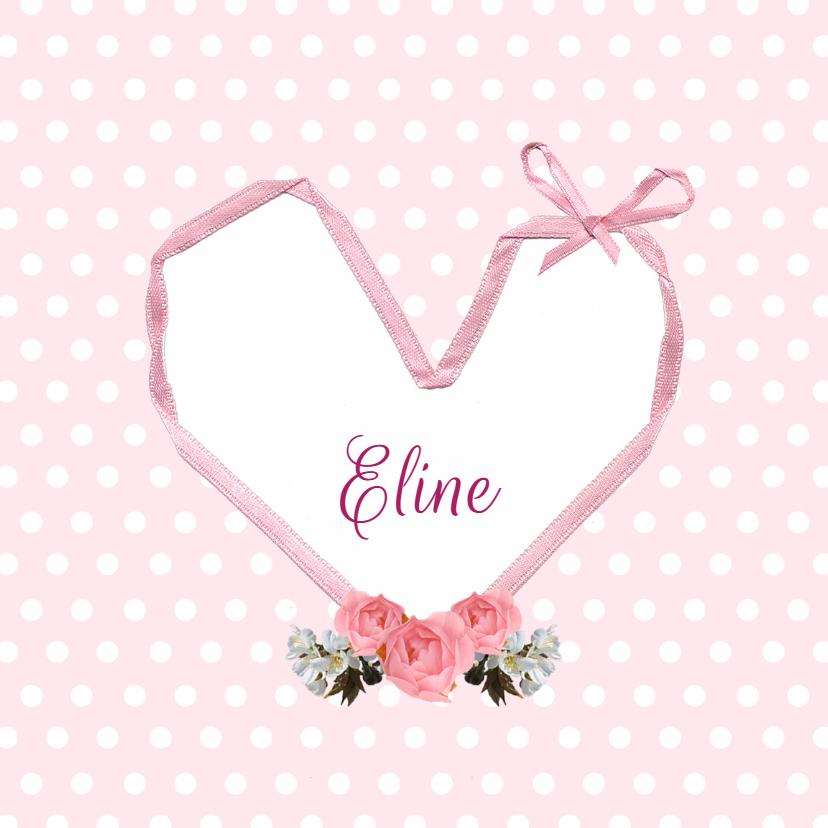 Geboortekaartjes - Geboorte - Bloemen, hart, strik