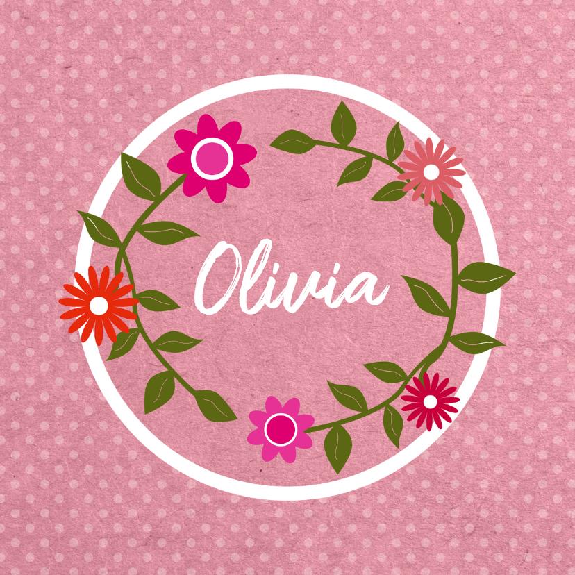 Geboortekaartjes - Geboorte bloemenkrans roze