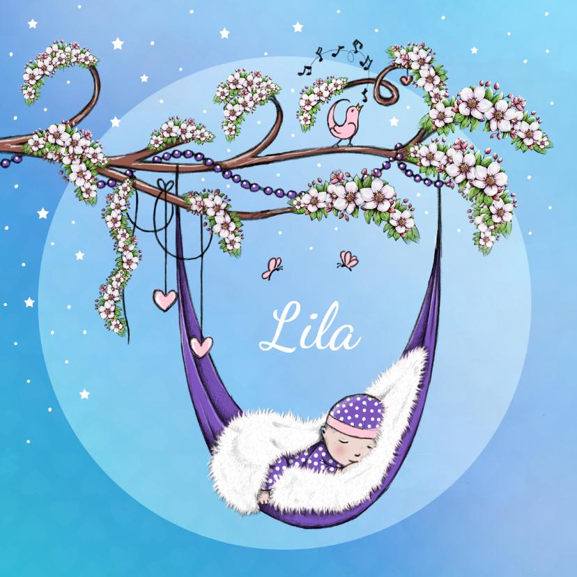 Geboortekaartjes - Geboorte bloesem lente lila - IH