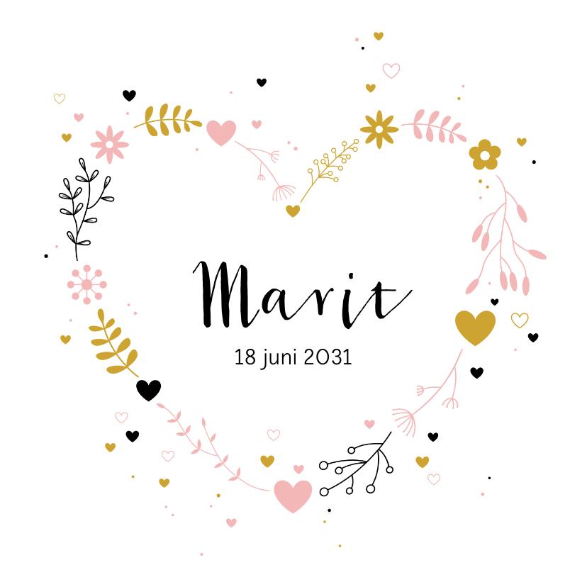 Geboortekaartjes - Geboorte - Botanisch hart met stipjes