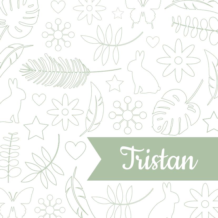 Geboortekaartjes - Geboorte - Botanische illustraties jongen