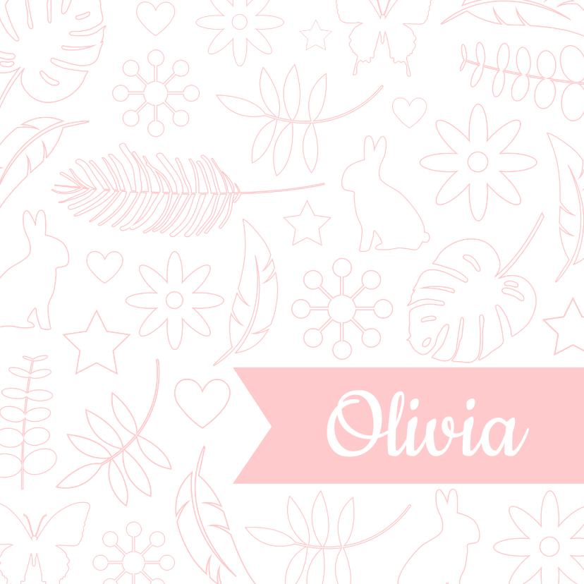 Geboortekaartjes - Geboorte - Botanische illustraties meisje