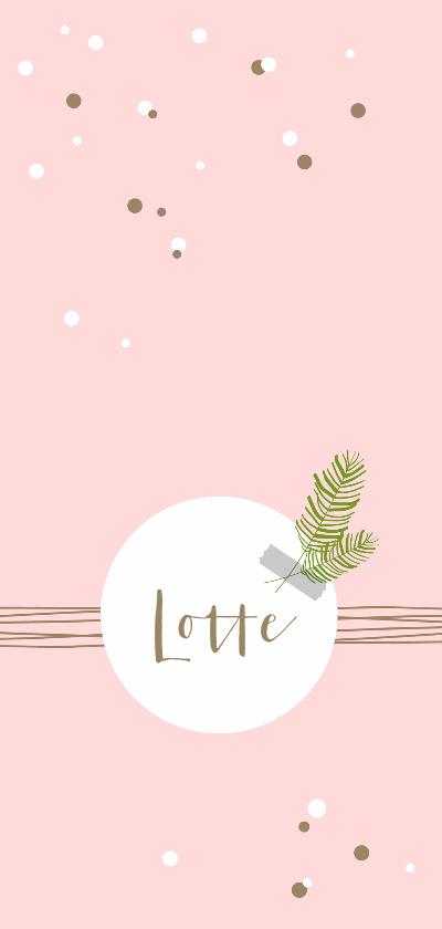 Geboortekaartjes - Geboorte - Confetti, lijnen en takje meisje