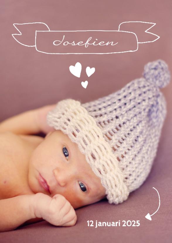 Geboortekaartjes - Geboorte doodles paars - DH