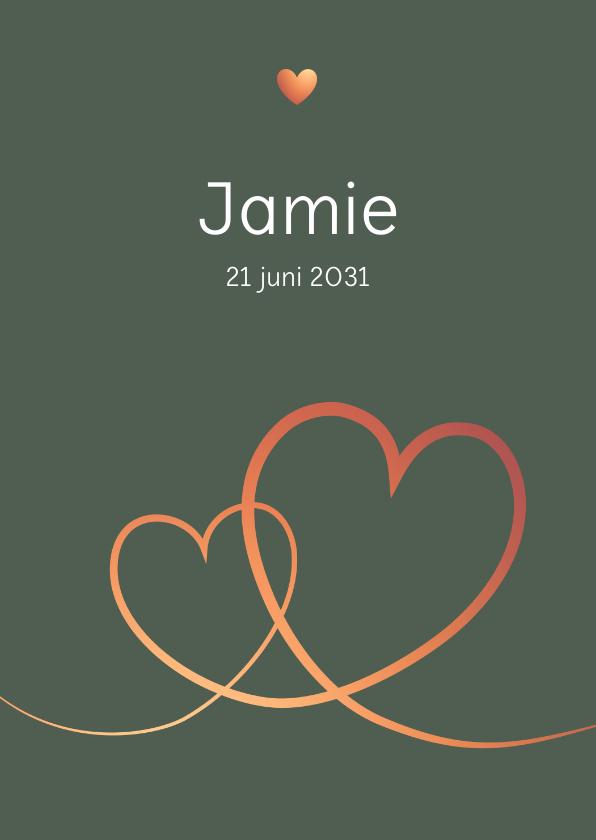 Geboortekaartjes - Geboorte - Eenvoudig harten in koperlook