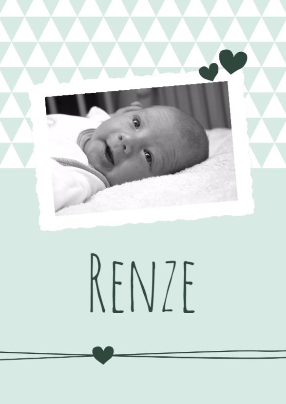 Geboortekaartjes - Geboorte Foto groene driehoek