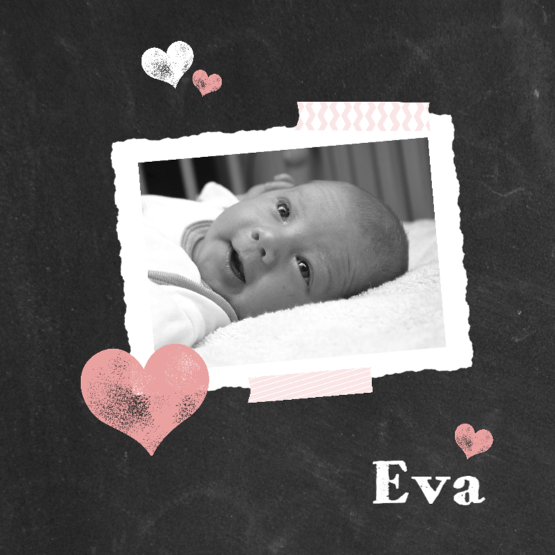 Geboortekaartjes - Geboorte - foto krijtbord roze