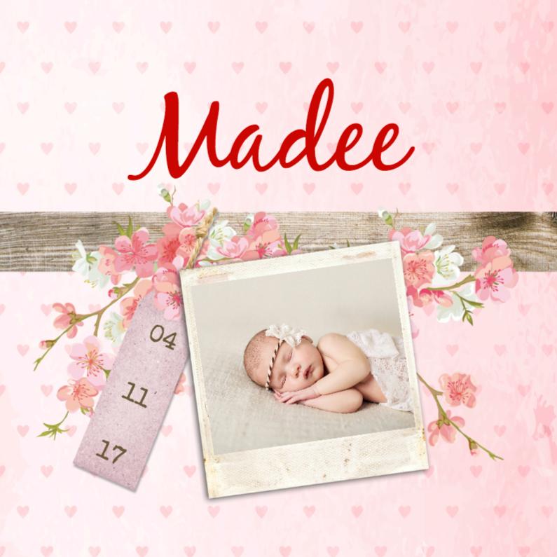 Geboortekaartjes - Geboorte foto madee - B