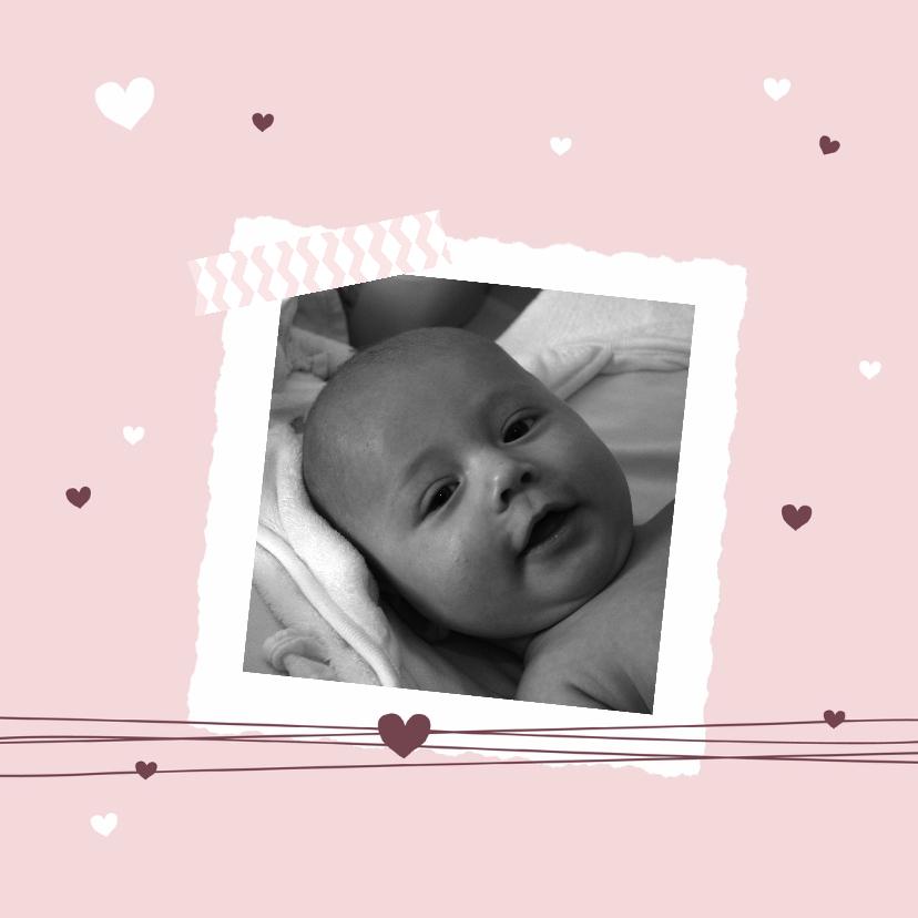 Geboortekaartjes - Geboorte - Foto met harten