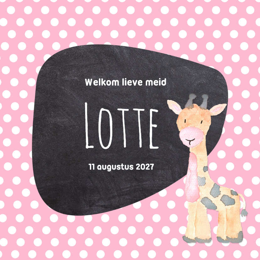 Geboortekaartjes - Geboorte giraf stippen - DH