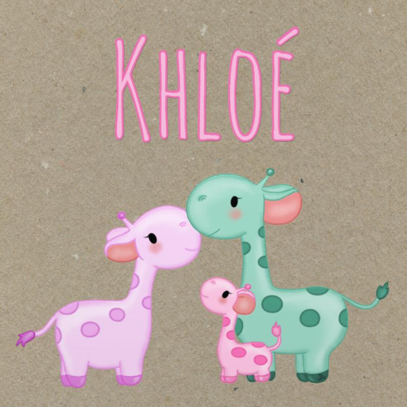 Geboortekaartjes - Geboorte Giraffes Meisje - TbJ
