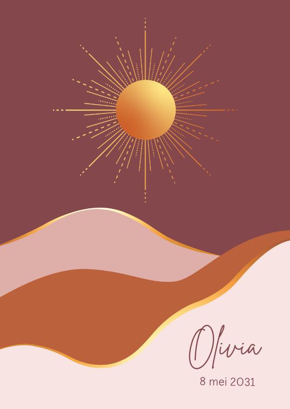 Geboortekaartjes - Geboorte - Goudlook zon met vlakken