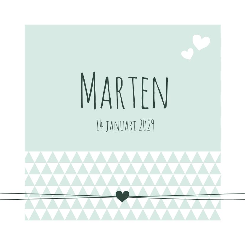 Geboortekaartjes - Geboorte - Groen, driehoek, hart