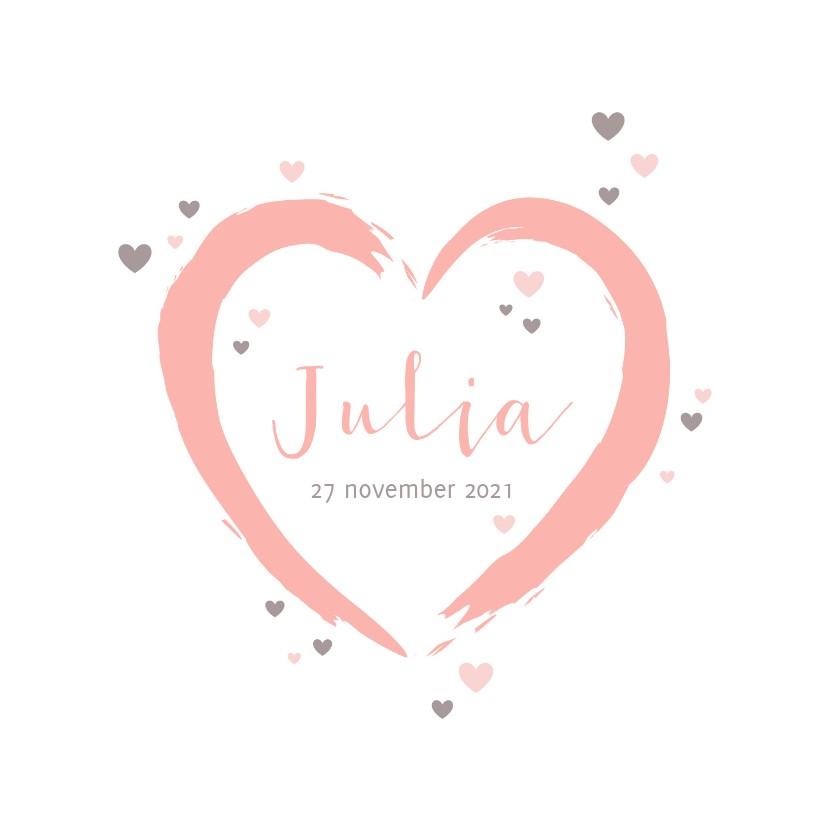 Geboortekaartjes - Geboorte - groot roze hart