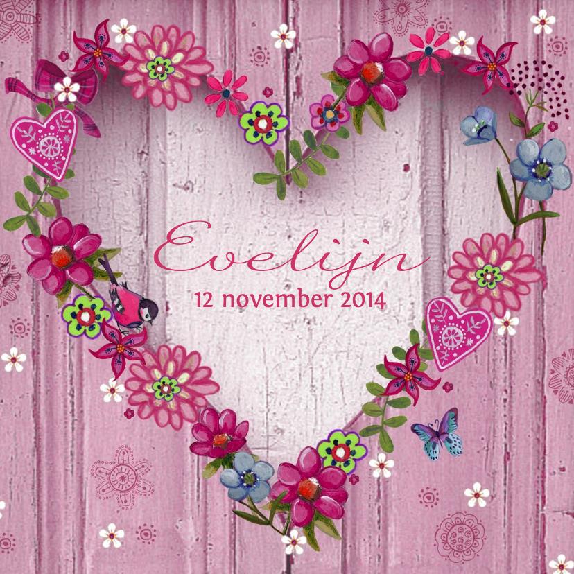 Geboortekaartjes - Geboorte HART hout roze BLOEMEN