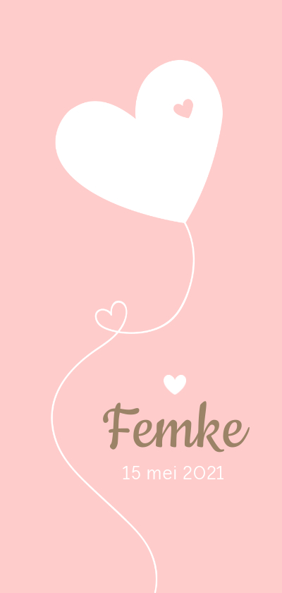 Geboortekaartjes - Geboorte - Hartjes ballon meisje