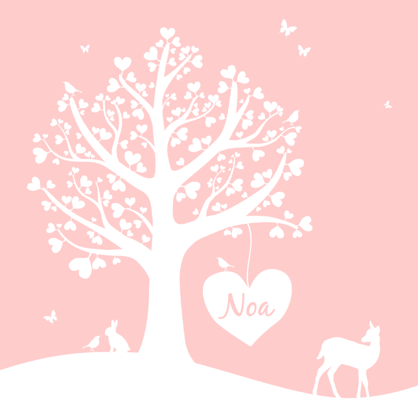 Geboortekaartjes - Geboorte - Hartjesboom meisje