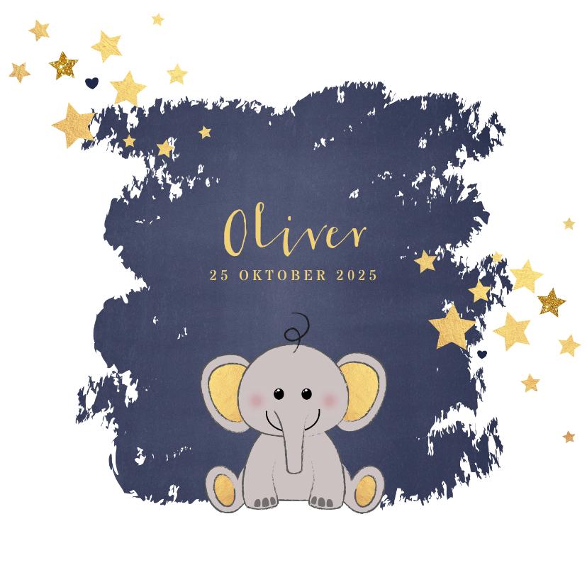 Geboortekaartjes - Geboorte hip blauw kaartje met een lief olifantje