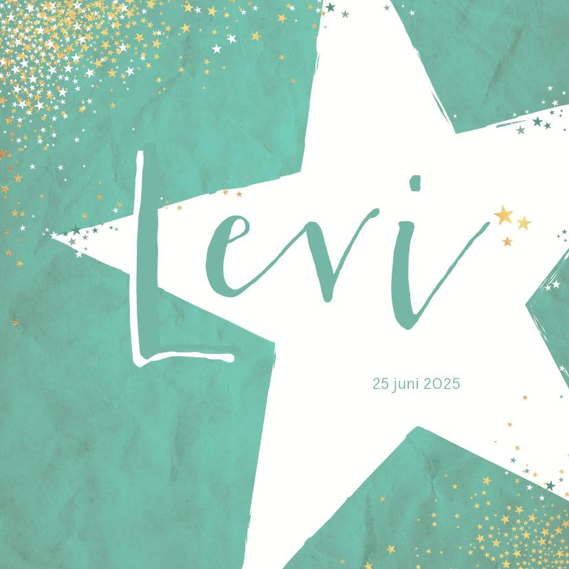 Geboortekaartjes - Geboorte hip kaartje met  een grote ster en vele sterretjes