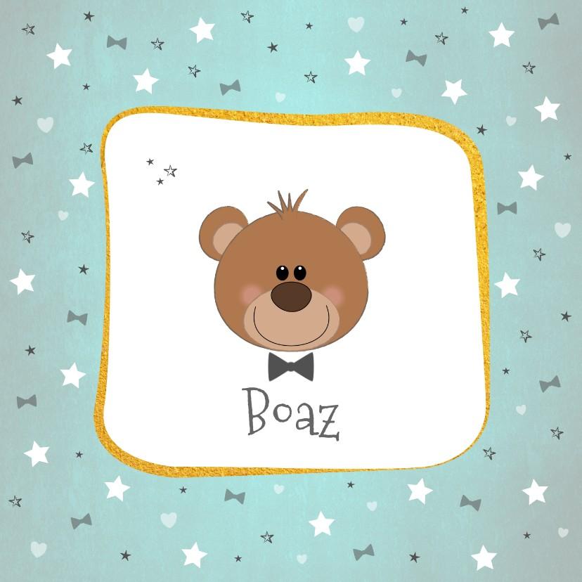 Geboortekaartjes - Geboorte Hip kaartje met een lief beertje en een strikje