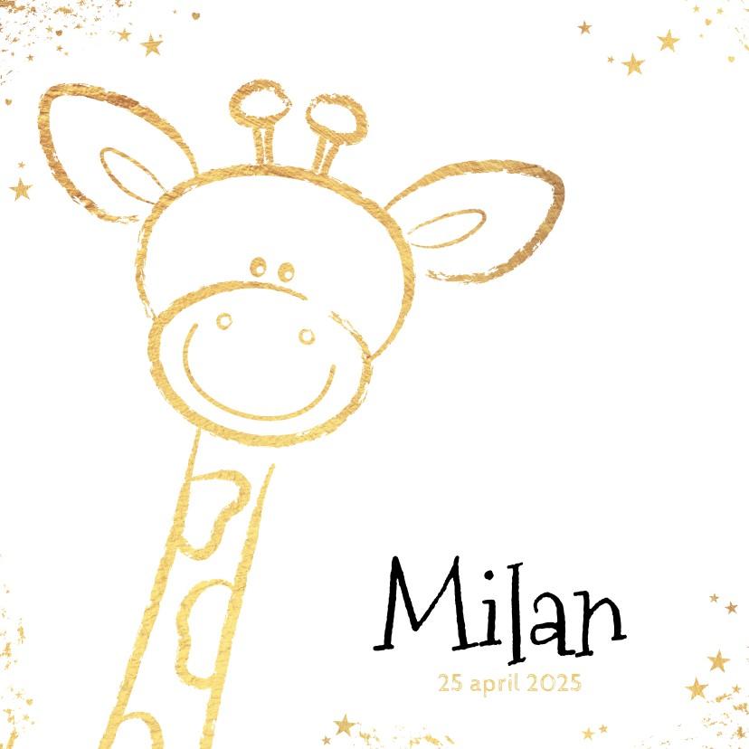 Geboortekaartjes - Geboorte hip kaartje met goudkleurig lief girafje