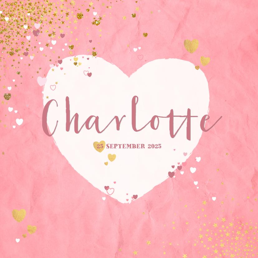 Geboortekaartjes - Geboorte hip roze kaartje met een hart en sterretjes
