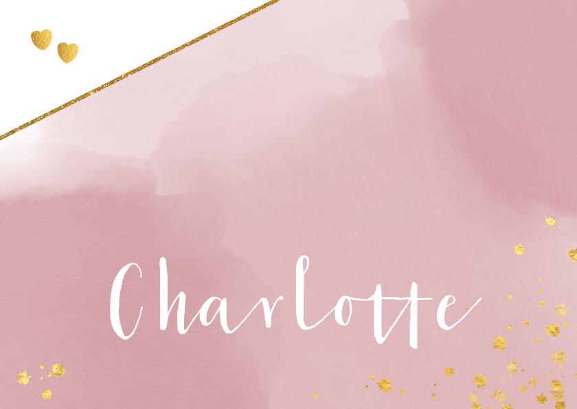 Geboortekaartjes - Geboorte hip roze kaartje waterverf en goudkleurige spetters