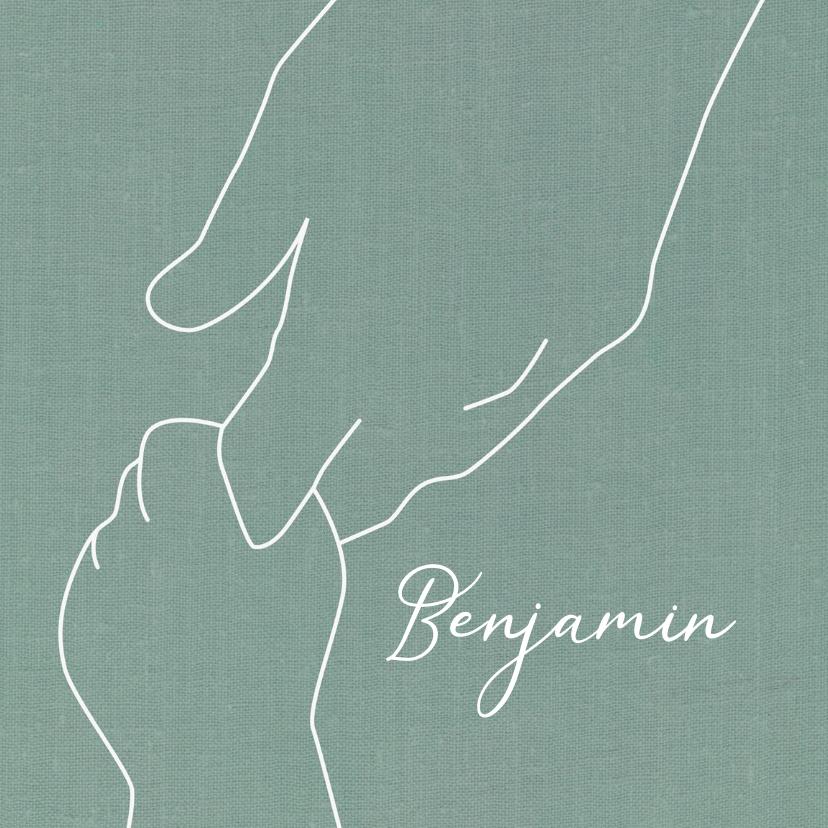 Geboortekaartjes - Geboorte jongen getekende handen groen