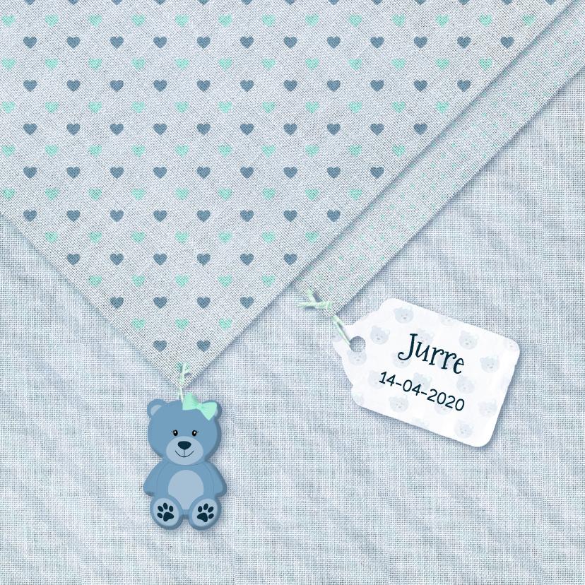 Geboortekaartjes - Geboorte jongen linnen-print