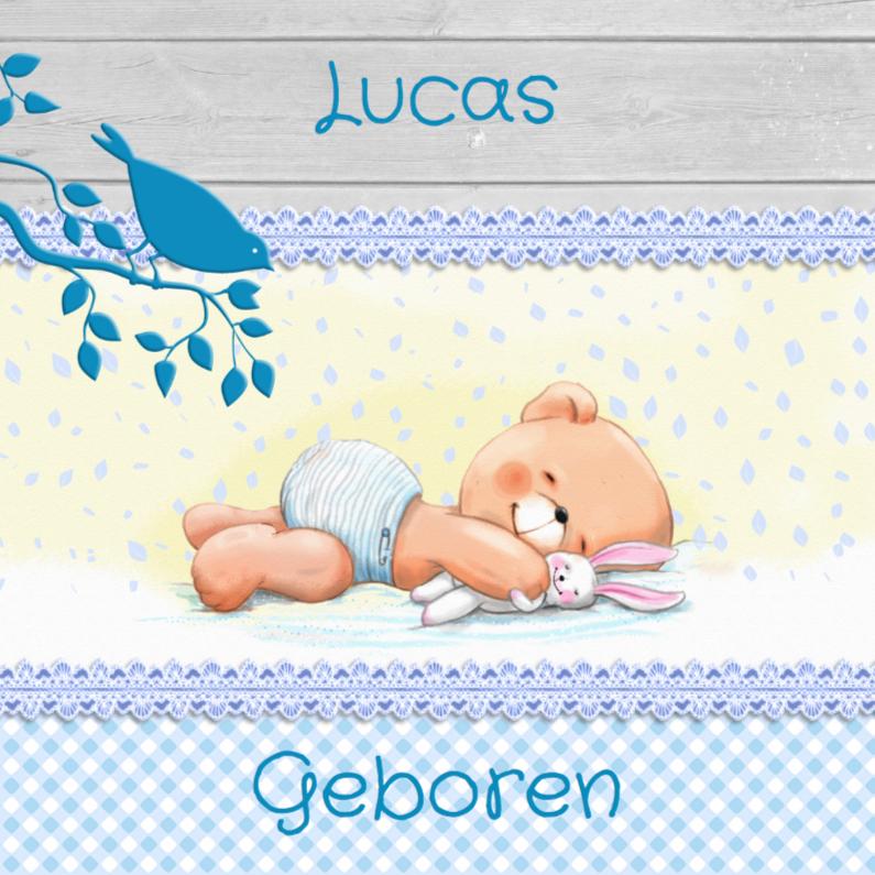 Geboortekaartjes - Geboorte jongen met beertje