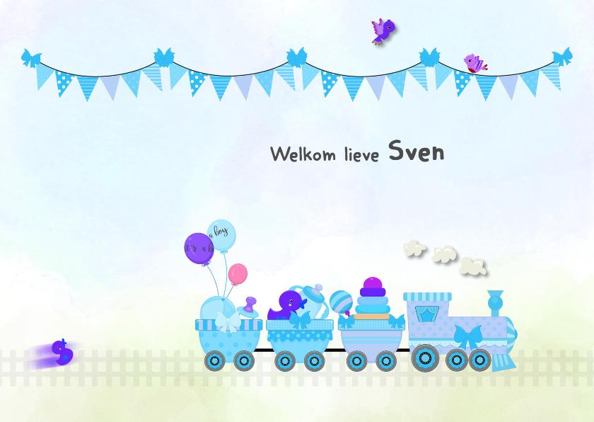 Geboortekaartjes - Geboorte jongen met trein